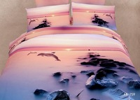 New Beautiful 100% Cotton 4pc Doona Duvet QUILT Comforter Cover Sets bedding set Full Queen King 4pc animal dolphine pink sunset