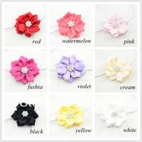 Baby Satin Flower with Thin Headband for Girls Ribbon Flowers Elastic Headband with Rhinestone for Infant Newborn Toddlers 12pcs