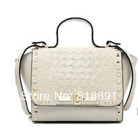 New 2014 HOT Fashion Casual Rivet High Grade Branded Cow Leather Handbag Single Shoulder Bag Motorcycle Bag Wholesale