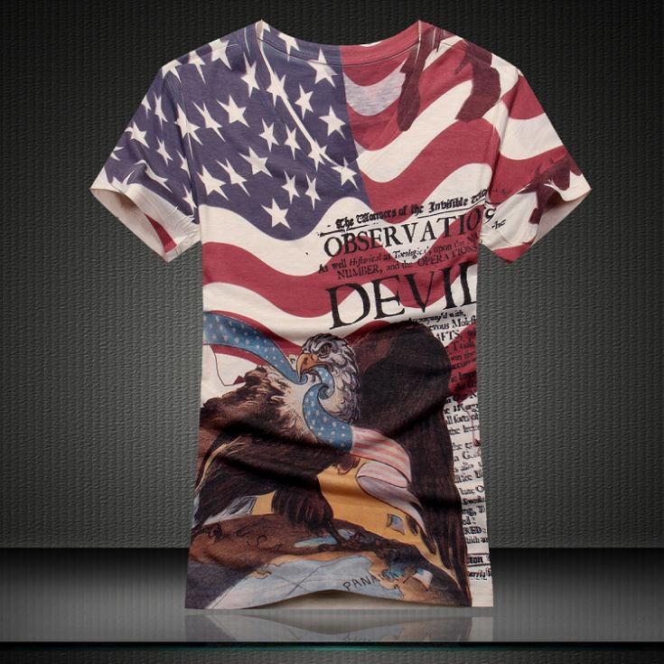Newest Fashion V-neck 3d T-shirt Men American Flag Funny Eagle Men's Tshirts new arrival him double side print 8201800(China (Mainland))