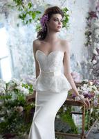 Lace tube top wedding dress slim waist ruffle satin wedding dress slim waist slim short trailing wedding dress