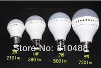 wholesale AC85-265V 2835 led 3w 5w 7w 9w e27  led light  bulb lamps Warm white/white  free shipping