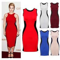 New 2014 Summer Women Sexy Sleeveless Slim Casual Dress O-Neck Knee Length Patchwork Bodycon Brief Pencil Dress XS-XXL