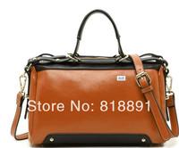 Color-contrast New 2014 HOT Fashion Casual High Grade Branded Cow Leather Handbag Single Shoulder Bag Motorcycle Bag Wholesale