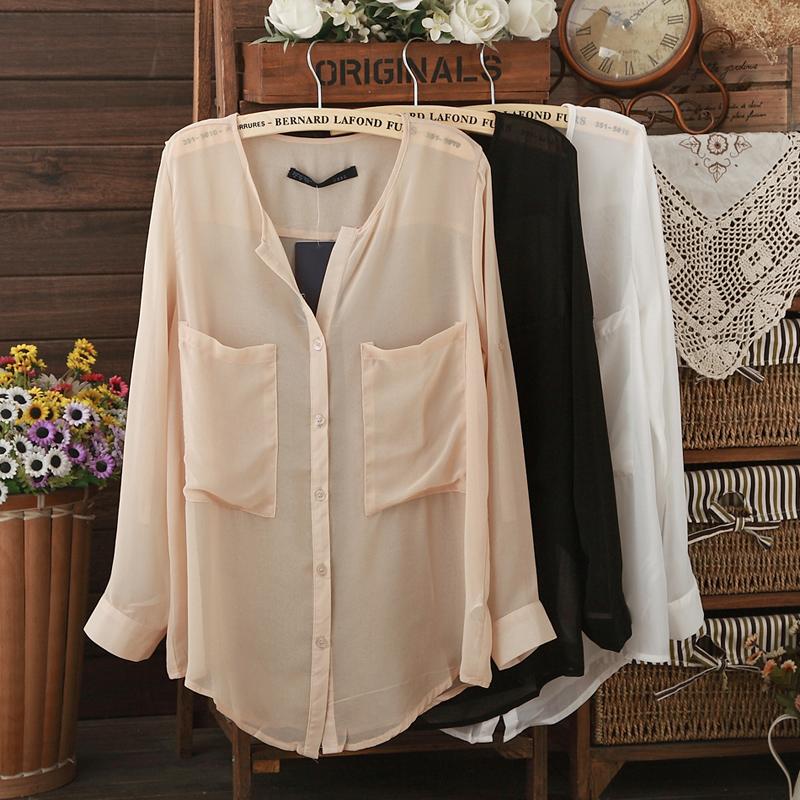 2014 moda primavera do vintage manga rolo solto chiffon camisa perspectivity preto e branco protetor solar de manga comprida camisa feminina(China (Mainland))