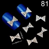 Free Shipping 2014 Fashion Bow Tie Nail Art Decoration 100Pcs DIY Nail Jewelry Alloy Rhinestone Wholesale