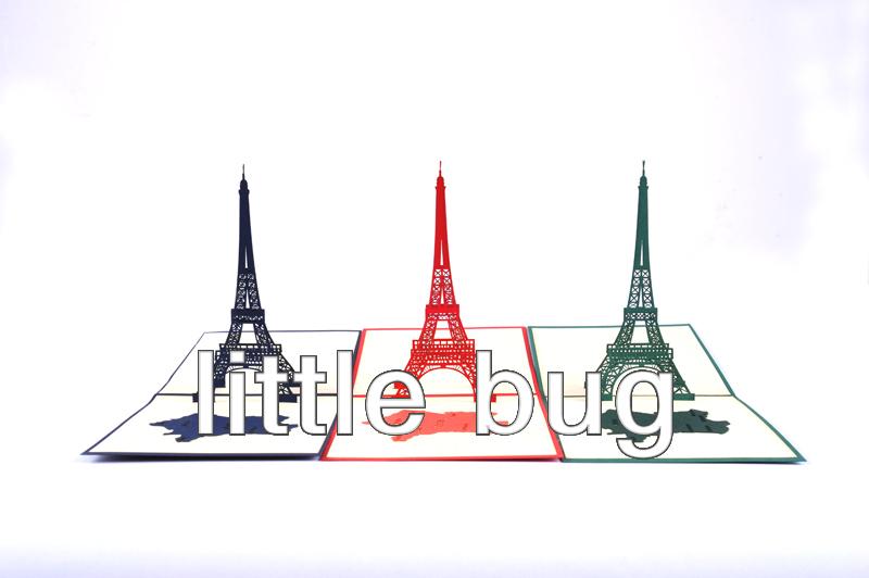 Free ship New 3D Greeting Cards Handmade Paper crafts Romantic Eiffel Tower Paper Art 100pcs/lot(China (Mainland))