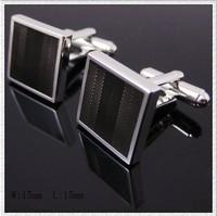 Black square metal cufflinks, men's cuff links AS-23