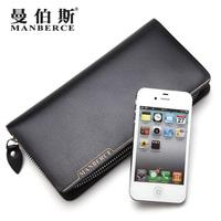 brand wallet men long black zipper genuine leather wallets clutch bag purse mens wallet credit card holder carteira masculina