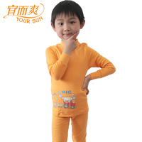 Underwear male child 100% cotton thermal long johns long johns cotton turtleneck 100% sweat absorbing breathable skin-friendly