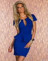 New 2014 Accept Drop Ship Free shipping U neck OL Dress Women Summer Peplum Career Black White Red Blue Pink Dress M L XL XXL