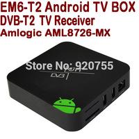 EM6-T2 New 2014 DVB-T2 Android TV BOX Dual Core Amlogic AML8726-MX 1G 8G HDMI AV WiFi XBMC Russia DVB T2 Receiver