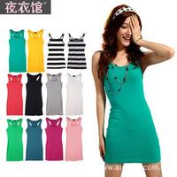 New 2014 Spring Women Fashion Dress Solid sleeveless Summer Stretch Sheath Cotton Sundress Sexy Casual Dress Tank Dress D76