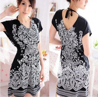 V neck short maxi summer dress short-sleeve slim waist V-neck print one-piece dress