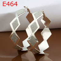 European style !925 Sterling Silver Unique Square Frosted Design Hoop Earrings, Wholesale Earrings Jewelry  E464