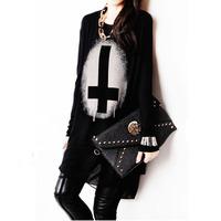 New 2014 Spring Fashion for Women Trendy Cross Medium Shirt Punk Style Chiffon T-shirt for Women Plus Size