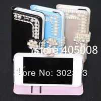 5S New Luxury Girl Phone Bags Cases with Bling Diamond Crystal Pearl For iPhone 5S 5 5G DHL 200pcs/lot Free Shipping