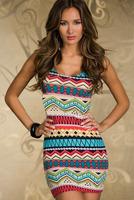 New spring 2014 Dresses fashion feminina Mini Ethnic print sheath Sexy bandage sexy spring roupas stripes vestidos de festa