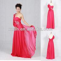 Newest Unique Design Ruched One-Shoulder Beading Hot Pink Prom Dresses
