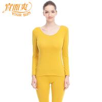 Foundation underwear women's cotton modal breathable skin-friendly elastic big o-neck basic long johns long johns