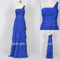 2013 Hottest One-Shoulder Royal Blue Ruffle Prom Dresses