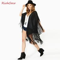 2014 European and American style fashion women's brands fringed stitching loose bat sleeve transparent chiffon shawl(large yard)