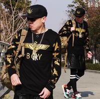 Hot Sale 2014 Fashion Harajuku male boy london gold long-sleeve T-shirts hiphop New plus size streetwear Tees sweatshirts