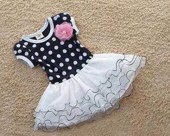 Оптовая продажа - - 2014 новая коллекция весна осень девочки платье одежда дети милые с коротким рукавом 2 цветов точка платья