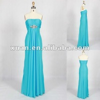 Strapless Horizontal Neck Pleated Applique Long Turquoise Prom Dresses
