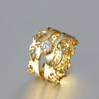 2014 Wholesale fashion women engagement ring!18k gold plated noble Two Crown Austria crystal ring.Ring jewelry R287
