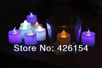48pcs/lot LED flameless Flickering Candles Tea Light for Wedding Birthday Party home decor candle 7 colors changeing color