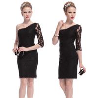 Black oblique short design lace dress unilateral half sleeve short design one-piece dress short skirt sexy evening dress
