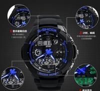 Free ship s-shock mens military watch sport watch 2times zone backlight quartz Chronograph jelly silicone swim dive watch