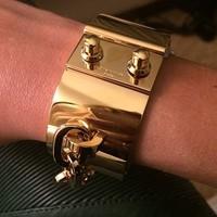 Free Shipping 2014 New Famous Brand Bracelet Stainless Steel Gold Bracelet Wide Bracelet bangles wholesale cuff bracelets