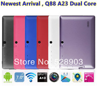 Cheapest Q88 Dual Core Tablet PC 7 Inch Capacitive Screen Android 4.2 AllWinner A23 1.5Ghz 512MB RAM 4GB WIFI Dual Camera MID