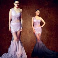 Long design fish tail purple one shoulder formal dress sexy evening dress formal evening dress banquet dress
