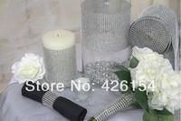 4 Meters Platinum Color Sparkle Rhinestone Crystal Diamond Mesh Wrap Roll Ribbon For Wedding Party Home Decor rhinestone