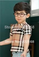 Hot brand new children's summer models boys mustache plaid short-sleeved T-shirt cotton T-shirt wholesale children