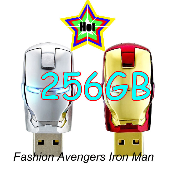 Wholesale Hot sale 256GB Fashion Avengers Iron Man LED Flash USB Flash 2.0 Memory Drive Stick Pen 256GB A24(China (Mainland))
