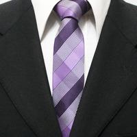 Mens Popular Plaid Unique Skinny Grid Neck Tie For Man Purple Mauve Classic Picnic Check Necktie Gravatas 5CM F5-C-8