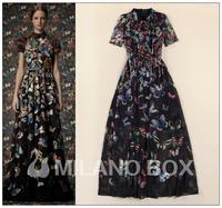 High Quality 2014 Newest Runway Maxi Dress Women's Fashion Bohemia Full Print Flare Sleeve Long Dress Floor Length Beach Dress