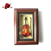 Mini Music Gifts Fashion Picture Frame of Electric Guitar Model Solid Wood Hand Made Hung Art