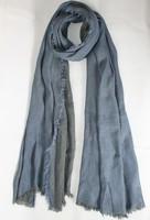 C&A  fashion style spring autumn winter scarf Denim blue dark grey solid color  cotton scarves shawl with tasselsmen women