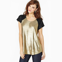 Bling bronzier black colorant match female short-sleeve t-shirt gold color women tops women's clothing  shirts t-shirts