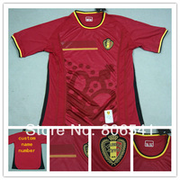 Top A+++ 2014 World Cup Belgium Home red Soccer Jersey embroidery LOGO Futbol Shirt Custom hazard