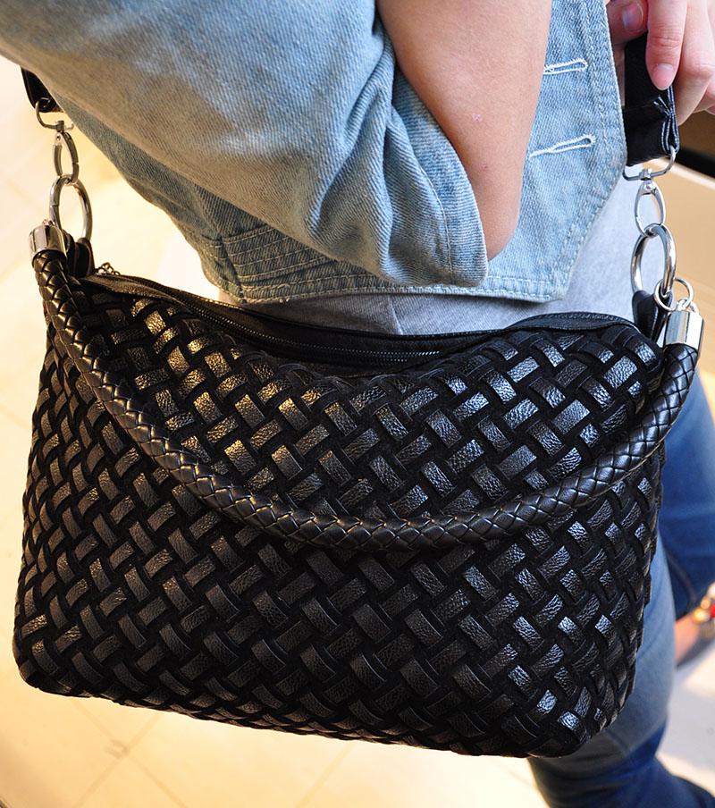 Black Woven Leather Handbag Handbags 2018