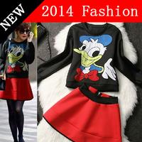 S M L 2PCS Spring Plus Size Womens Clothing Set 2014 Women's Donald Duck Top + Expansion Bottom Short Skirt Suits Blue Red 324H