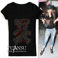 Cc decoration bear pattern fashion short-sleeve T-shirt slim black and white