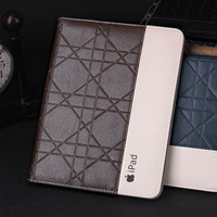 leather case for iPad air 5 holder handheld model build in stand thin cross print pattern auto wake sleep free shipping