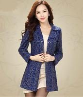 2014 Fall new high-end fashion hollow lace Slim windbreaker female coat